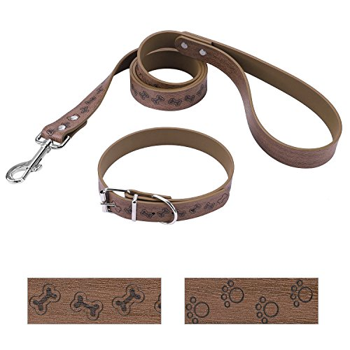 Pet Set Dog Leash Collar (Bark Lover Designer Print Collar and Leash Set (Simulated Leather), for Medium Large Dogs.(M, Brown,Bones Prints))