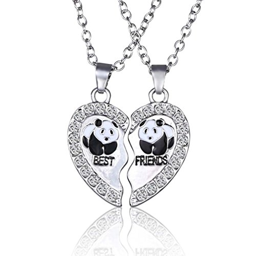 4EAELove Best Friends Necklace Engraved Panda Matching Heart Pendant Rhinestone Charm Silver Plated Alloy Relationship Jewelry