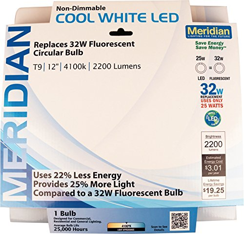 Meridian Electric 13145 32W Equivalent LED Circline Bulb (Utility Magnetic Ballast)