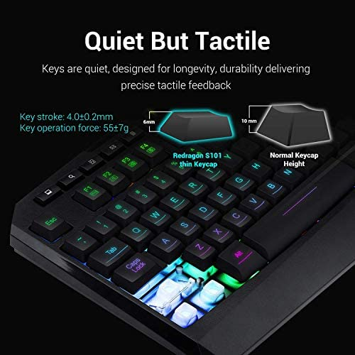 Redragon S101 Wired Gaming Keyboard and Mouse Combo RGB Backlit Gaming Keyboard with Multimedia Keys Wrist Rest and Red Backlit Gaming Mouse 3200 DPI for Windows PC Gamers (Black) 51eITNEKD8L