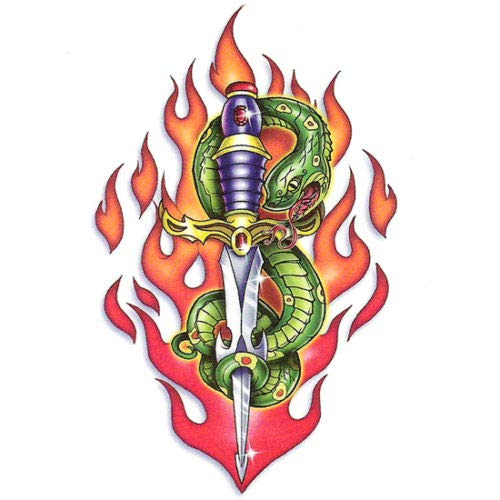 | Fast & Fierce | Temporary Tattoo Body Sticker Green Snake & Dagger in Flames For Women Men - Made in USA