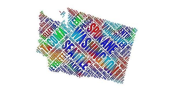 Amazon Com Washington State Map Word Art Colorful Wa Usa Cities Wall Decor Print 8 5 X 11 Handmade