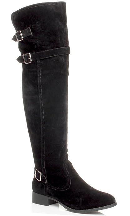 Dettagli su Stivali Donna Semi Elasticizzati al ginocchio Pelle Nero Tacco Medio Basso 5 cm