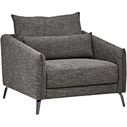 "Rivet Berkshire Modern Living Room Chair, 37""W, Dark Grey"
