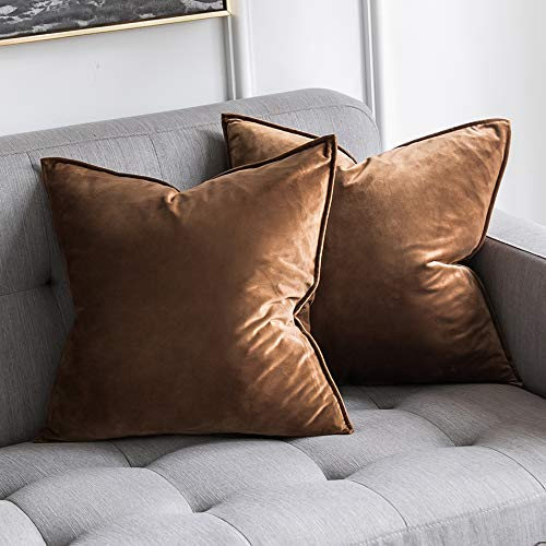 MIULEE Pack of 2 Decorative Velvet Throw Pillow Cover Soft Chocolate Pillow Cover Soild Square Cushion Case for Sofa Bedroom Car 18x 18 Inch 45x 45cm