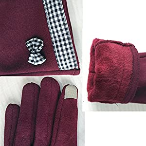 Womens Running Touchscreen Winter Warm Gloves,iPhone Gloves, Texting Gloves for Smartphones (one size, Wine Red 1)