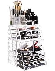 Acryl make up organizer cosmetica organizer met 32 opbergvakken, met lades naar wens in te delen en te combineren, vierlaags make-up opbergsysteem voor make-uptafel, kast