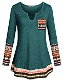 Miusey Womens Pullover Sweatshirt, Ladies Knitted Sweater Oversized Lightweight Cotton Tunic Tops Bohemian Clothing Ethnic Wear Daily Prime Utility Color Block Tee Autumn Green XXL