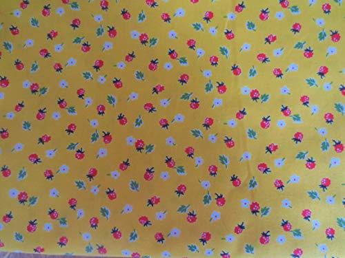 Windham Fabrics Sugar Sack Yellow with Strawberry Cotton Fabric