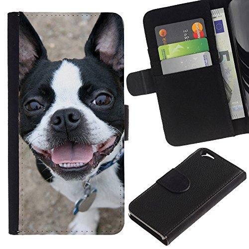 EuroCase - Apple Iphone 6 4.7 - Boston terrier bull French bulldog canine - Cuir PU Coverture Shell Armure Coque Coq Cas Etui Housse Case Cover