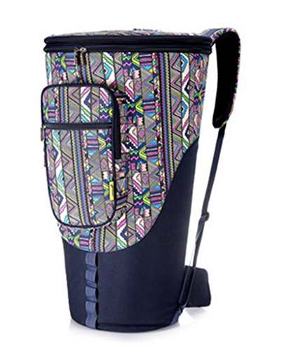 Skyseen Ethnic Style Padded Djembe Latin Drum Carry Case Conga Gig Bag Backpack -Fit 12