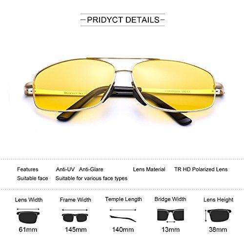 Metal 100 UVA Amarillo de Hombre Rayos ELIVWR Protección Rectangulares Polarizadas Anti Amarilla Contra Gafas Ultraligero Dorado Conduccion Dañi Nocturna Los Reflectante UVB wTnxv4P
