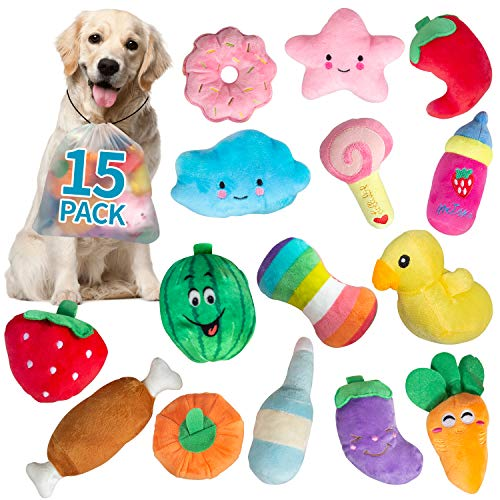 SOKUTOM 15 Pack Puppy Toys, Dog Squeaky Toys Cute Stuffed Plush Dog Toys for Boredom, Puppy chew Toys Puppy Teething Toys for Small Medium Dogs Pets