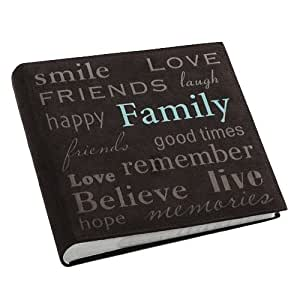 "Pioneer ""Family"" Text Design Sewn Faux Suede Cover Photo Album, Brown"
