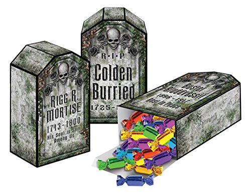 Four Person Group Halloween Costumes (Beistle 01199 Tombstone Favor Boxes, 4