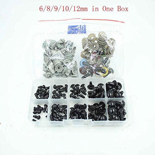 100pcs 6-12mm Black Plastic Safety Eyes for Bear, Doll, Puppet, Plush Animal and Craft One Box with 7 Pairs 12mm Mixed Colors Eyes