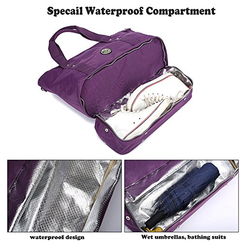 Blue JANSBEN for Waterproof Bag Women Dark with Shopping Large Blue Travel Handbag Crossbody Organizer Beach Nylon Bag Tote Shoes Shoulder Bag Shopper Travel Dark SgTqrS