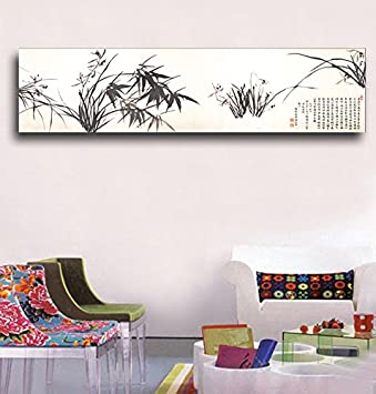 Zheng banqiao ink orchid chinese canvas painting bedroom hanging painting wall art pictures decorative painting beside