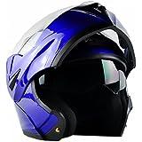 ILM 10 Colors Motorcycle Flip up Modular Helmet DOT (L, Blue)