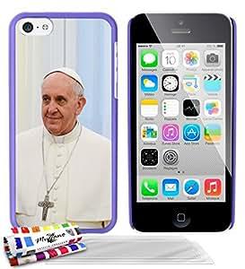 """Carcasa Rigida Ultra-Slim APPLE IPHONE 5C de exclusivo motivo [Papa Francisco] [Violeta] de MUZZANO  + 3 Pelliculas de Pantalla """"UltraClear"""" + ESTILETE y PAÑO MUZZANO REGALADOS - La Protección Antigolpes ULTIMA, ELEGANTE Y DURADERA para su APPLE IPHONE 5C"""