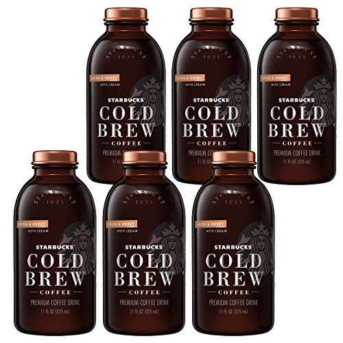 Starbucks Cold Brew Coffee Cocoa Honey With Cream 11 Fl Oz Glass Bottles 6 Count