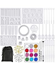 TIMESETL 98pcs Resin Jewelry Making Kit, Silicone Casting Molds Epoxy Resin Molds with Screw Eye Pins, Plastic Spoon Stir Bar Dropper for Pendant, Bracelet, Earrings, Ring, Jewelry Craft Making
