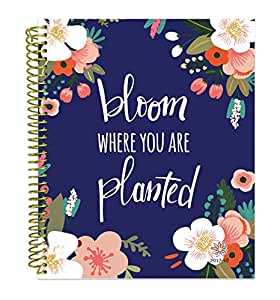 "bloom daily planners 2017-18 Academic Year Vision Planner - Monthly and Weekly Column View Planner - (August 2017 - July 2018) Bloom Where You Are Planted - 7.5"" x 9"""