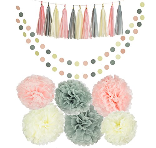 Party Charm 20PCS Tissue Decoration Kit | Pretty Party Supplies: Pom Flowers, Garland & Tassels | Pastel Pink, Gray & Ivory | Perfect poms for baby shower or girls first birthday! for $<!--$17.99-->