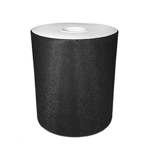 Craft and Party, 6'' by 200 yards (600 ft) fabric tulle spool for wedding and decoration. Value pack. (Black)