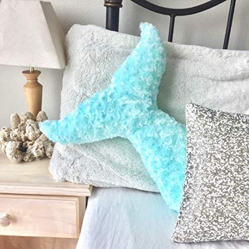 (Mermaid Pillow Room Decor - Mermaid Tail Plush Decorative Throw Pillow - For Room Decor, Dorm Decor, Mermaid Theme Party and more)