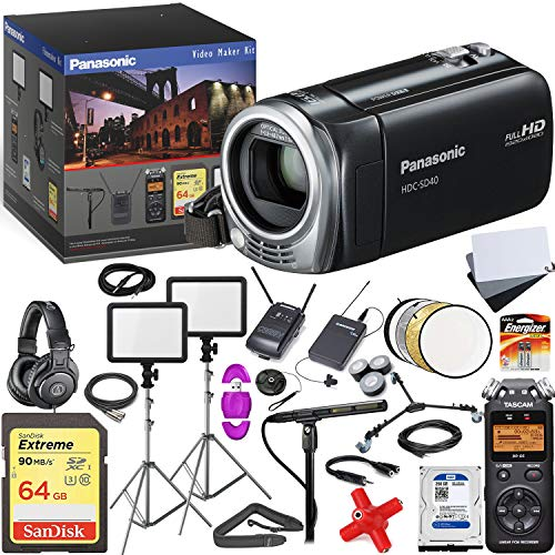 Panasonic HDC-SD40 High Definition Camcorder (Black) - Advanced Video Maker Kit - Includes Pro Mic - LED Lights w/Stands - Headphones - Spare HDD - Wireless LAV System - with Memory Card (Panasonic Sd40)