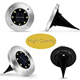 Solar Lights Outdoor, Solar Ground Lights, Disk Lights As See ON TV, Flat Solar Lights for Lawn Pathway Yard Driveway Patio Walkway with 8 Led Pack of 4