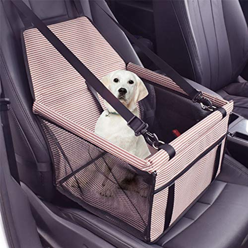 m·kvfa New Pet Stripe Seat Car Seat Clip-On Safety Leash and Zipper Storage Pocket Protects Seat from Pet Hair Mud and Water (Coffee) (Best Airline Price Tracker)