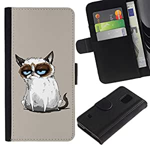 Ihec-Tech / Flip PU Cuero Cover Case para Samsung Galaxy S5 V SM-G900 - Funny Mad Angry Cat Painting
