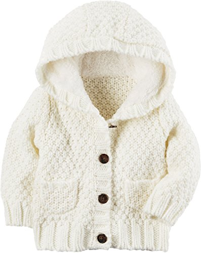 Jacket Ivory Blend Wool (Carter's Baby Girls' 3M-24M Long Sleeve Sherpa Jacket Ivory 9 Months)