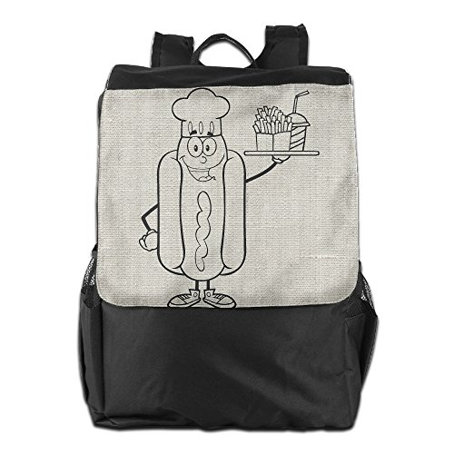 ZHONGRANINC Different Outdoor Men And Women Travel Backpack Black And White Hot Dog Chef Cartoon Character French Fries Shoulder - Black Male Cartoon Characters