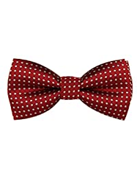 Boys Girls Baby Children Solid Color Satin Bow Ties Bowtie (Burgundy White Polka Dots)