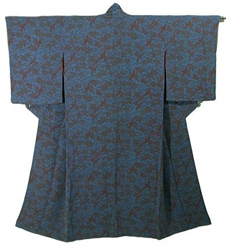 郊外誓約代替案アンティーク 着物 桐唐草や鳳凰 正絹 袷 裄60.5cm 身丈138cm