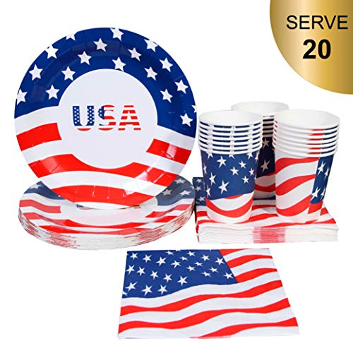 4th of July Patriotic Party Supplies - Serve 20 - Fourth of July Party Disposable Tableware Cups Paper Plate and Napkins - American Flag Design]()
