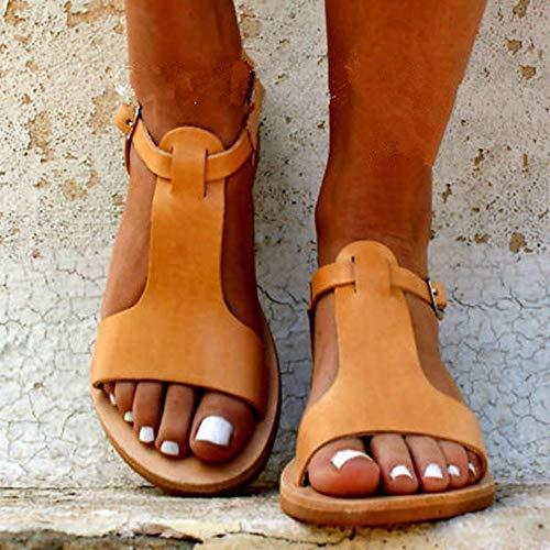 Style Dames Orange Plat Loisirs Plage escarpins Femme Air De Romain Plein Sandales boucle Mode Féminine En qS4Sga