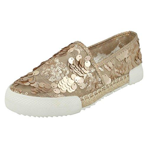 Savannah Gold oro Espadrilles Ladies Paillettes Rose Flat g1qWg0