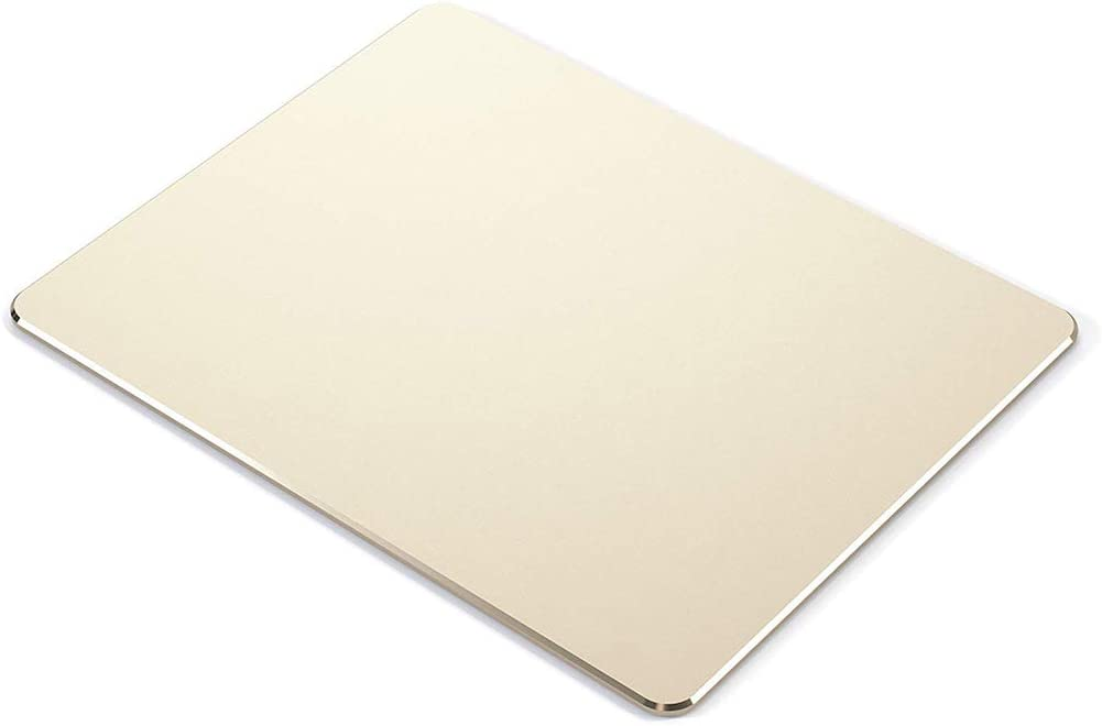 """Metal Mouse pad mat,Aluminum Alloy Mouse Pads, Double-Sided,Waterproof,Smooth,Computer Mouse pad, Suitable for Gaming Office Home Personal Use Medium 8.7""""x7.0"""" (Small Gold)"""