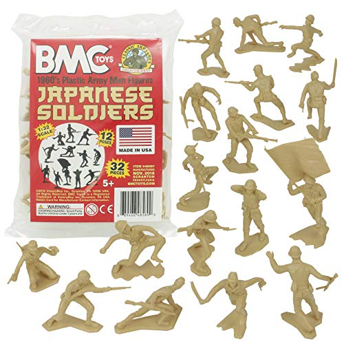 BMC Classic Marx Japanese Plastic Army Men - 32pc WW2 Soldier Figures Made in USA from BMC Toys