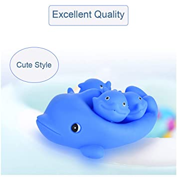 Amazon.com: LtrottedJ Childrens Family Soft Bath Dolphin Toys: Toys & Games