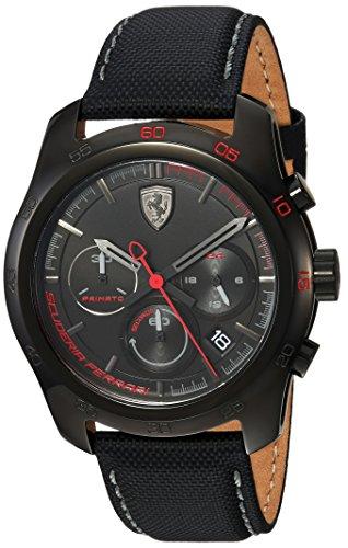 Ferrari-Mens-PRIMATO-Quartz-Stainless-Steel-and-Nylon-Casual-Watch-ColorBlack-Model-830446
