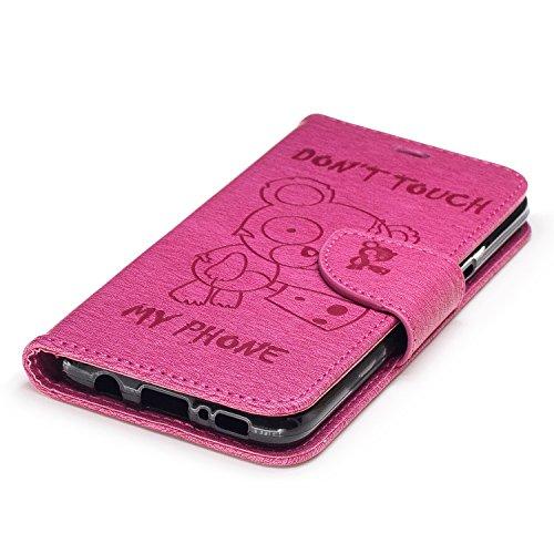 Funda Samsung Galaxy S8,Funda Libro Suave PU Leather Cuero impresión- EMAXELERS Carcasa Con Flip case cover,Funda Galaxy S8 gofrado diseño afortunado del trébol Flip case cover,wallet Case para Galaxy C Rose Bear
