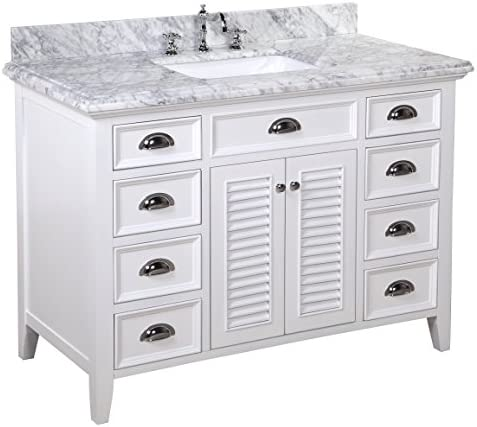 Savannah 48-inch Bathroom Vanity Carrara White Includes White Cabinet with Soft Close Drawers Shutter Doors, Italian Carrara Marble Countertop, and Rectangular Ceramic Sink
