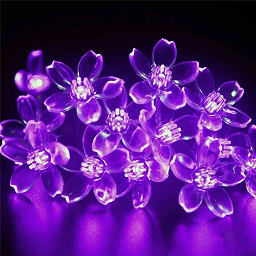 Decorative String lights, FULLBELL 66ft 200 LEDs with 8 modes Changing Fairy Flower LED String Lights for Party, Wedding, Chirstmas Tree, Garden, Outdoor & Indoor Decoration + Controller(Purple)