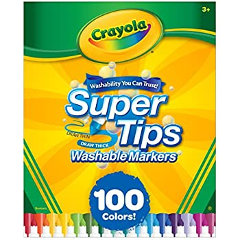 Crayola Super Tips Washable Markers, 100 Count, Bulk, Easter Gifts for Kids