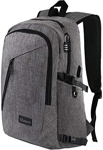 ": Laptop Backpack, Travel Computer Bag for Women & Men, Anti Theft Water Resistant College School Bookbag, Slim Business Backpack w/USB Charging Port Fits UNDER 17"" Laptop & Notebook by Mancro (Grey)"